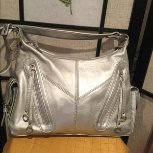 D'margeaux Silver Leather Handbag